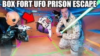 BOX FORT PRISON ESCAPE ALIEN UFO! 24 Hour Box Fort UFO Challenge
