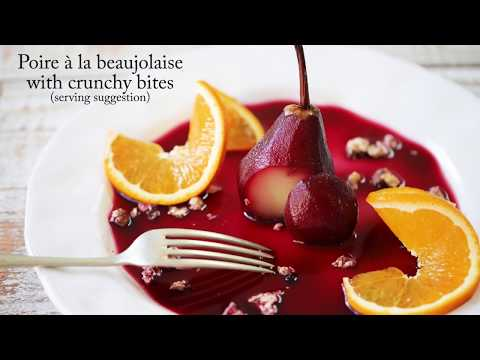 Poached Pears In Beaujolais Wine And Blackcurrant Sauce (Poire à La Beaujolaise)