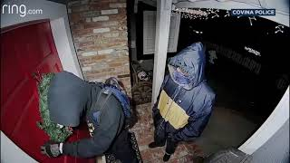 Doorbell camera spots armed suspected burglars at front door of Covina home