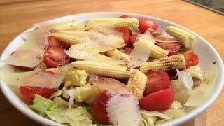 Салат с шампиньонами и беби-кукурузой. Готовят дети. Cooking kids.