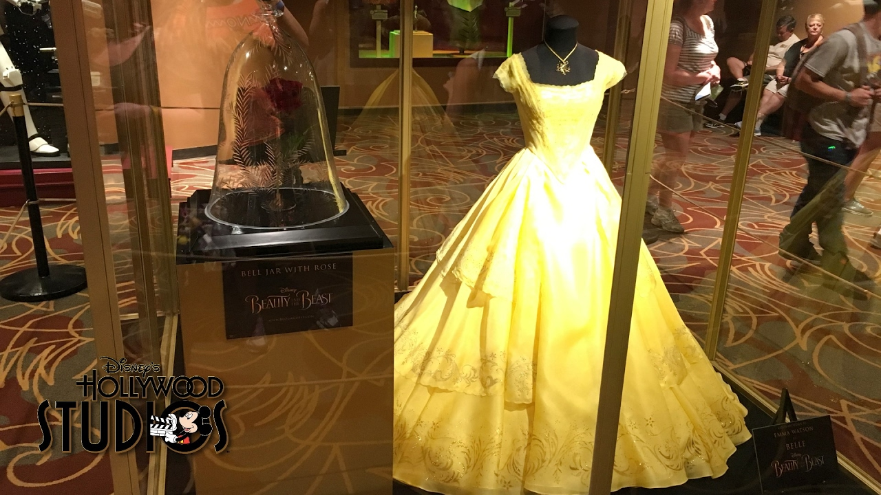 Belles Dress And Rose Prop From Live Action Beauty The Beast On Display In Hollywood Studios