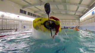 Лиговский бассейн тренировки по фристайлу на каяке на гладкой воде Санкт-Петербург 2015