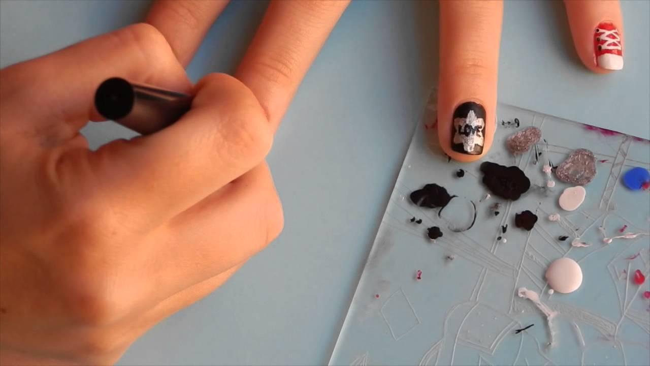 Decoraci n de u as converse nail art youtube for Decoracion de unas converse