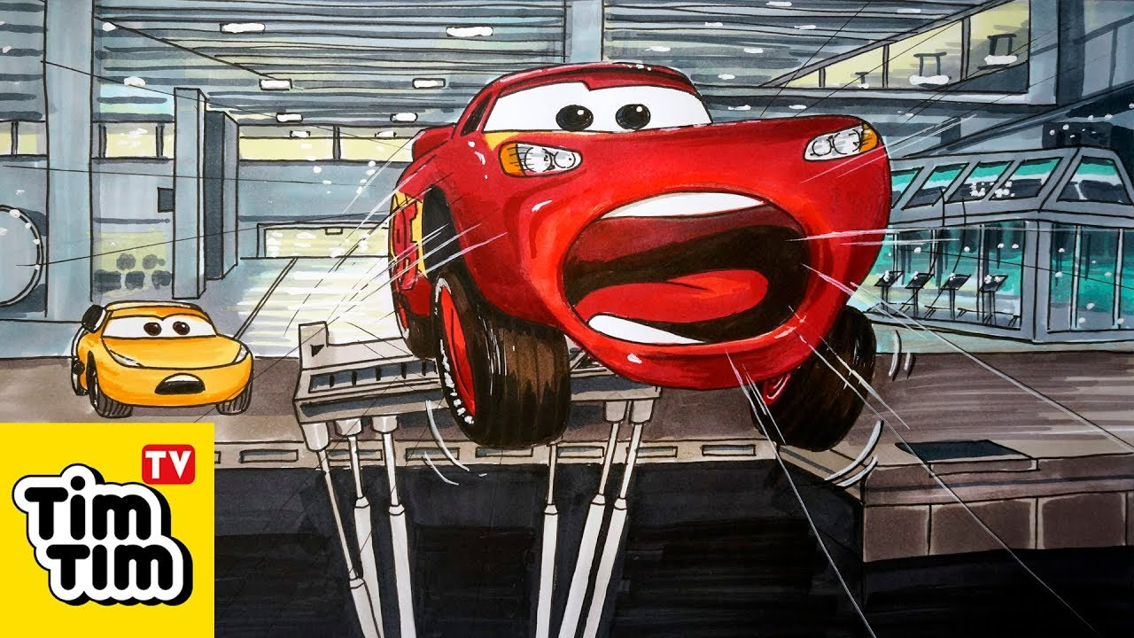 How To Draw Cars 3 Lightning Mcqueen Crashed Through The Simulator
