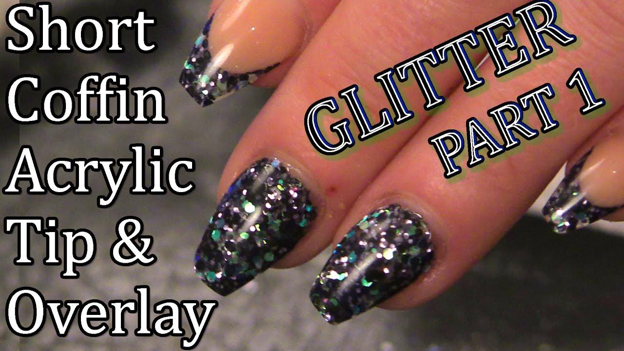 Salon Style Nails - Short Ballerina/Coffin Glitter Nails ...