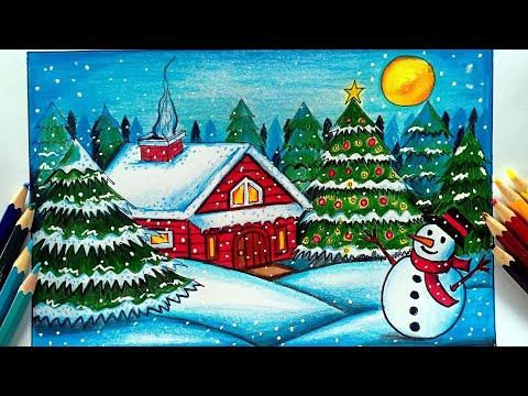 วาดภาพระบายสีวันคริสต์มาสด้วยสีไม้ How to draw Merry Christmas