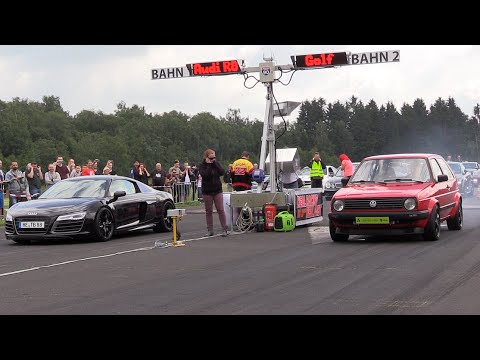 600HP VW Golf 2 VR6 TURBO vs Audi R8 vs Dodge Challenger SRT8