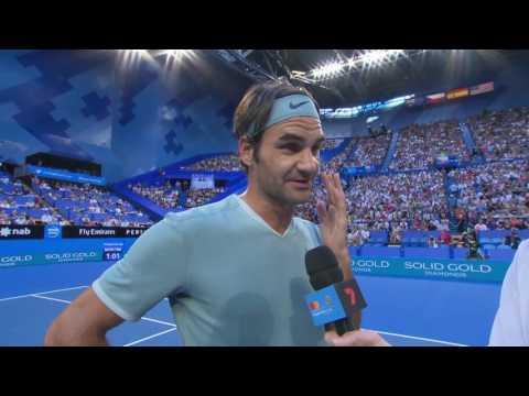 Roger Federer on-court interview (RR)