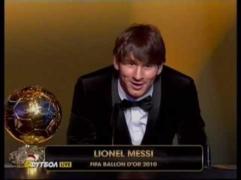 Lionel Messi wins 2010 FIFA Ballon d'Or award (Golden Ball) [HQ]