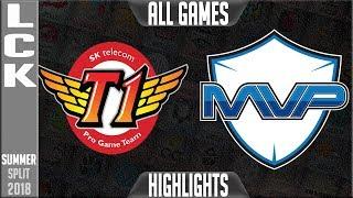 Skt vs mvp highlights all games | lck summer 2018 week 2 day 2 - sk telecom t1 vs mvp all highlights
