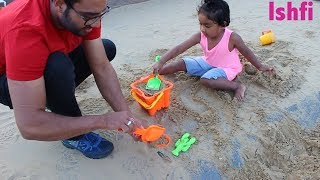 Kids Summer Vacation Play at Sand Park with Shovel Sand Toys Ishfi and Daddy