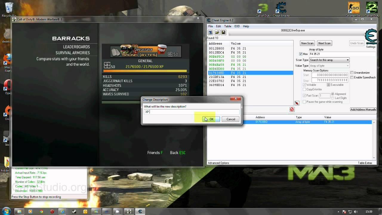 Tutorial] MW3 SP Rank Hack with Cheat Engine