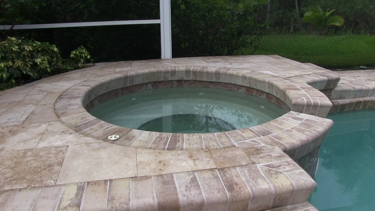 Travertine Pool Deck Installation Aspendos Youtube