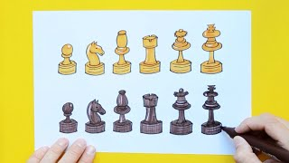 How to draw and color chess pieces