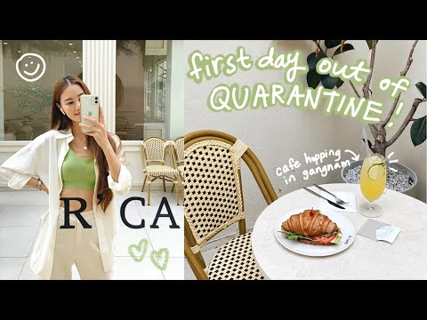 seoul vlog 🇰🇷 first day out of quarantine! stationery store, gangnam cafe hopping, han river sunset