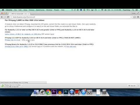 Audacity FFMpeg codec install for Mac OS