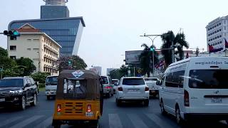 Travel at the Evening on Preah Monivong Blvd to the South of Phnom Penh Capital, Cambodia