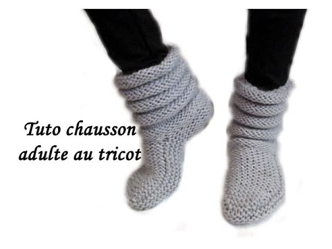chaussons adultes a tricoter