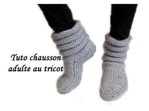 chausson en tricot adulte