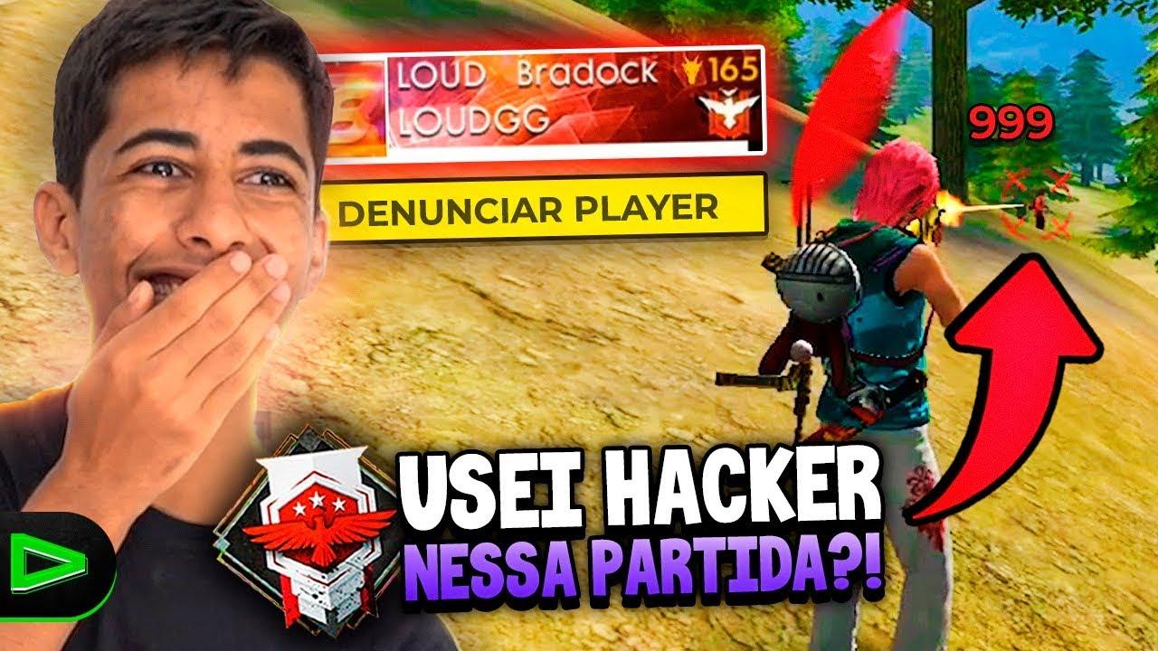 ATIVEI O HACKER NESSA PARTIDA?! FUI ATÉ DENUNCIADO NO FREE FIRE!!!
