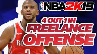 NBA 2K19 BEST Offenses! How to Run 4 Out 1 In Freelance Offense