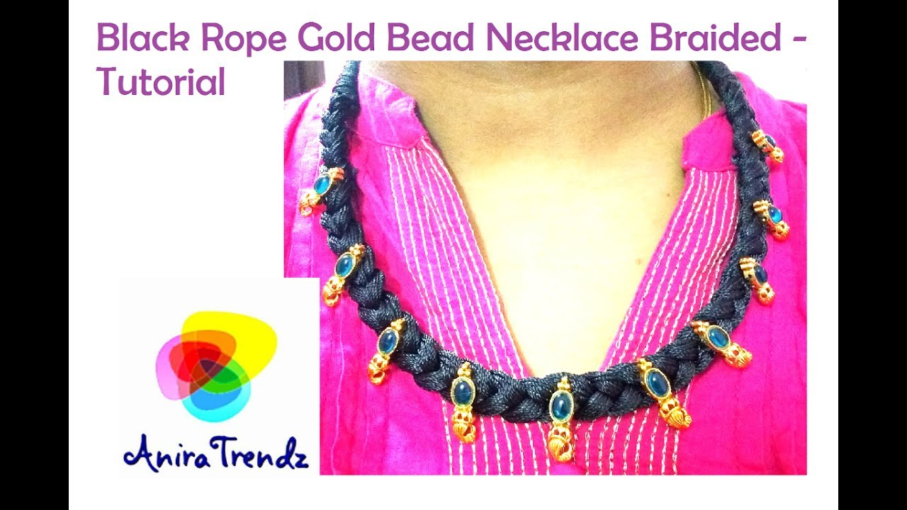 Trendy Black Rope Braided Necklace With Kolhapur Bead Tutorial - Diy braided necklace