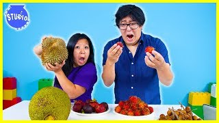 Trying Exotic Fruits for the first time!  Super Stinky DURIAN FRUIT Challenge