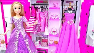 Barbie Rapunzel Morning RoutinePrincess Bedroom Dollhouse BreakfastDresses Fashion Show