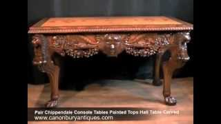 Pair Chippendale Console Tables Painted Tops Hall Table Carved