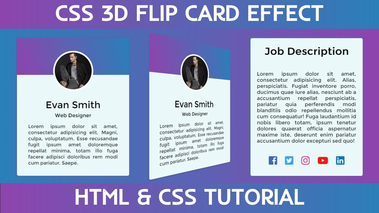 CSS 3D Flip Card Effect on Hover with HTML & CSS