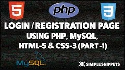 Login and Registration page in PHP and MySQL - Part 1