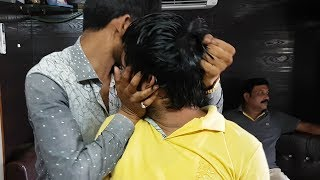 Intense head massage with cracking