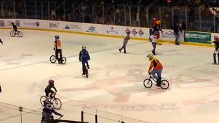 BMX ICE RACE riders doing stunts and goofing off after the ice rink drag at johnstown war memorial
