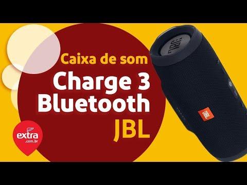 Caixa de som portátil Bluetooth JBL Charge 3 à prova d`agua Bateria 20  horas Preto | Extra com br