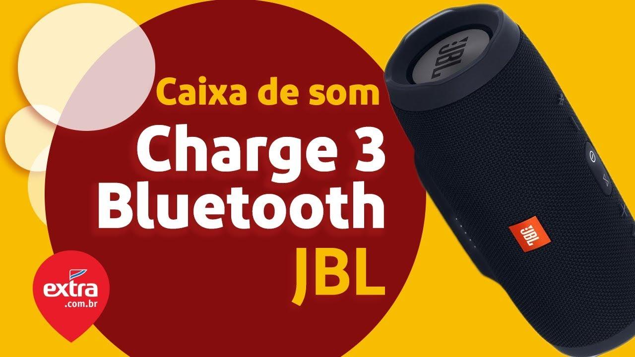 Caixa de som portátil Bluetooth JBL Charge 3 à prova d`agua Bateria 20  horas Preto   Extra com br