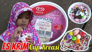 Es Krim Strawberry Vanilla - Es Krim Walls Cup Kreasi Nafis