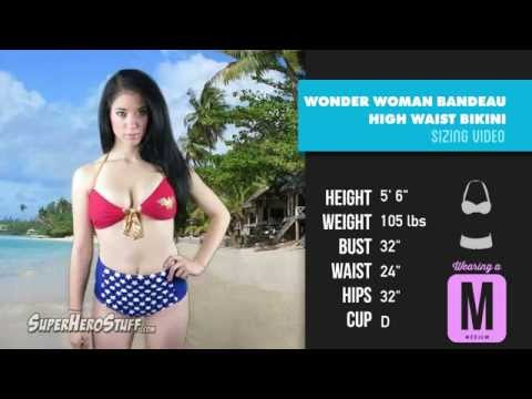 8c1e7f04232 Wonder Woman Tie Bandeau High Waist Bikini Sizing Video - YouTube