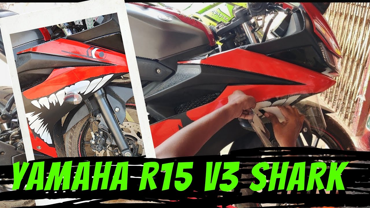 Yamaha r15v3 sharks  stickers modify