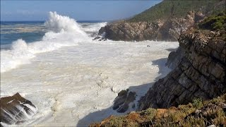 1 hour video of big ocean waves crashing into sea cliffs -  HD 1080P