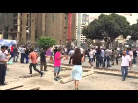 Men attack protestors