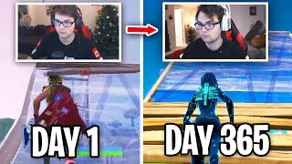 365 Days of Fortnite Progression... (I got this good playing Fortnite Every Day for a YEAR)