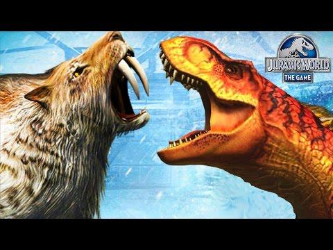 Тираннозавр против Саблезубого тигра. Новые Животные Jurassic World The Game прохождение