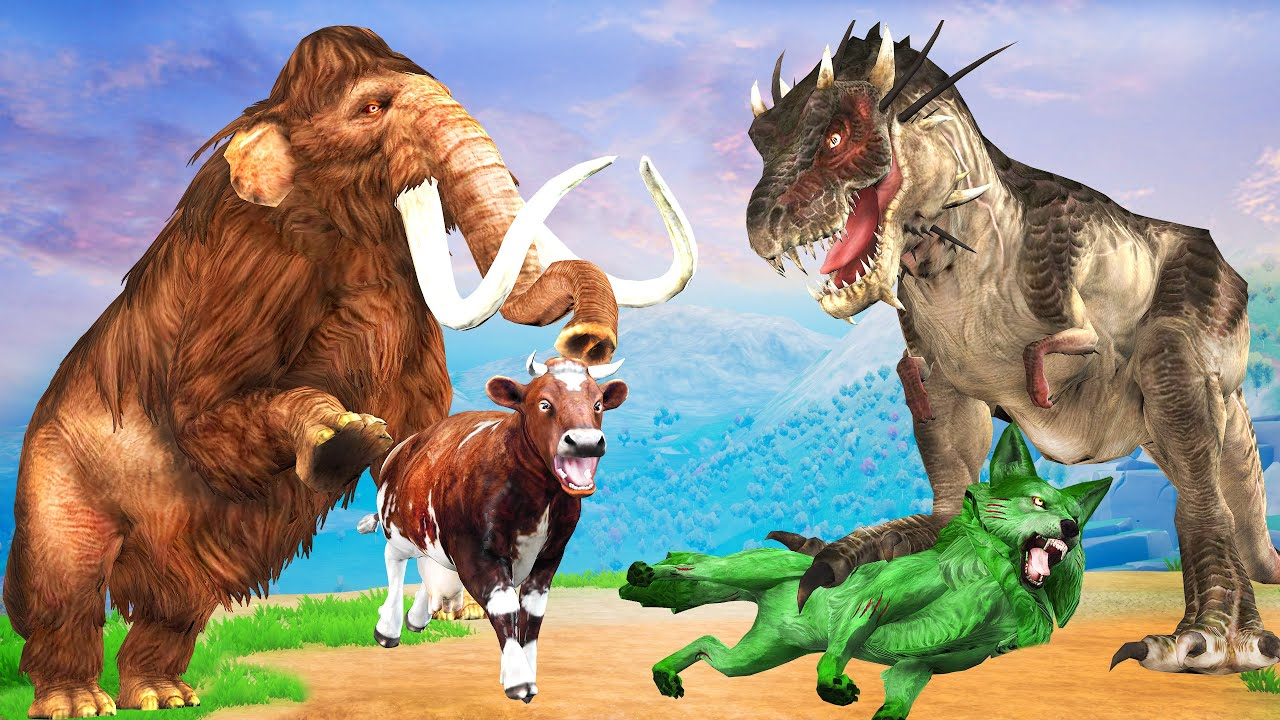 Zombie Wolf Vs Dinosaur Fight Cartoon Cow Saved By Biggest Woolly Mammoth Giant Animal Fight