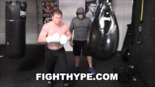CANELO ALVAREZ BLASTS AQUA BAG AFTER DENTING HEAVY BAG ; PUTTING IN WORK FOR LIAM SMITH CLASH