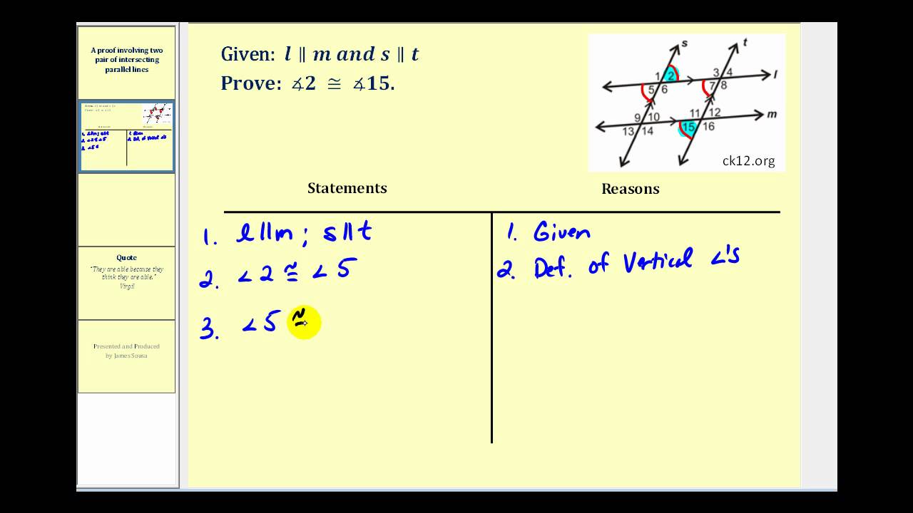 Proof: Involving Two Pair of Parallel Lines - YouTube