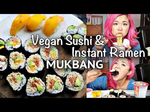 VEGAN SUSHI + INSTANT NOODLES FEAST (MUKBANG)