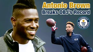 Antonio Brown Breaks Odell's One-Handed Catch for the Guinness World Record | NFL thumbnail