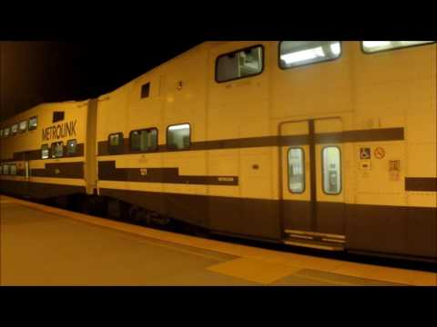 10 second Metrolink 645 stop at the Orange station with BNSF locomotive