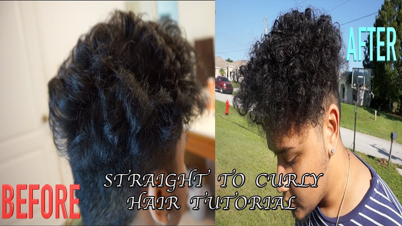 Straight perm for curly hair - How To Get Curly Hair For Men With Straight Hair No Heat