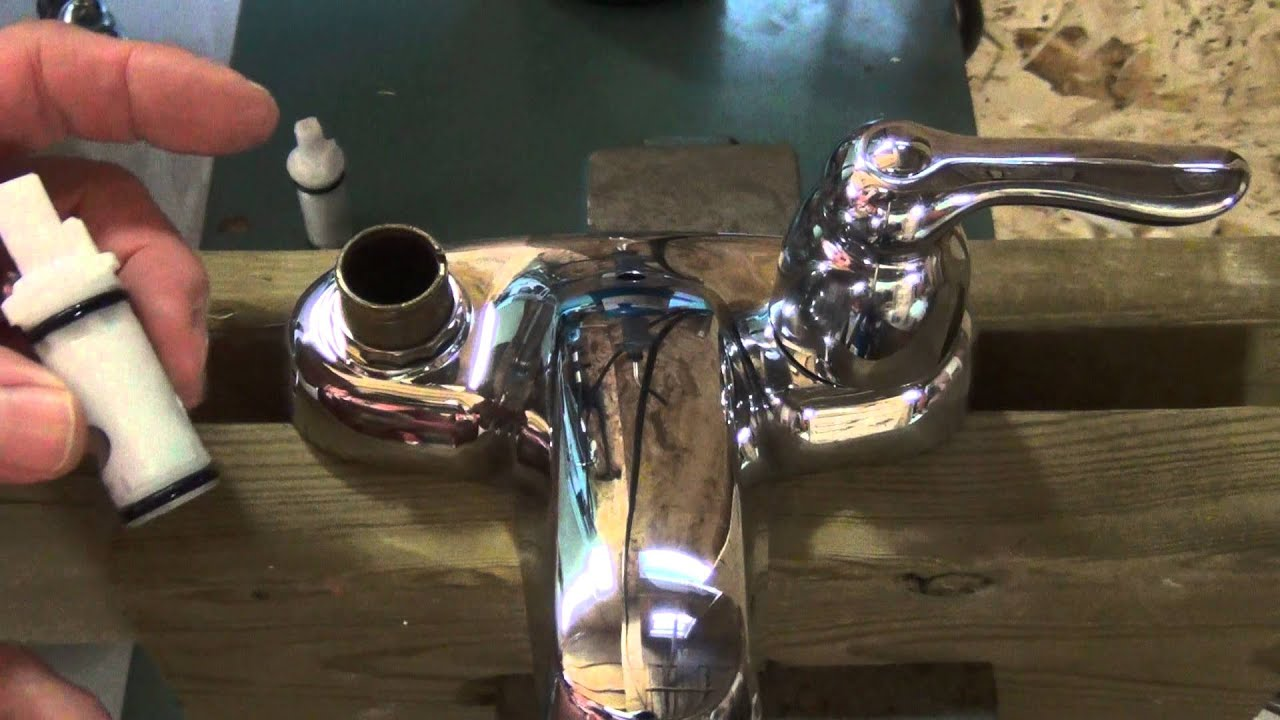 How to repair a set of leaky 2 handle Moen washerless faucets ...